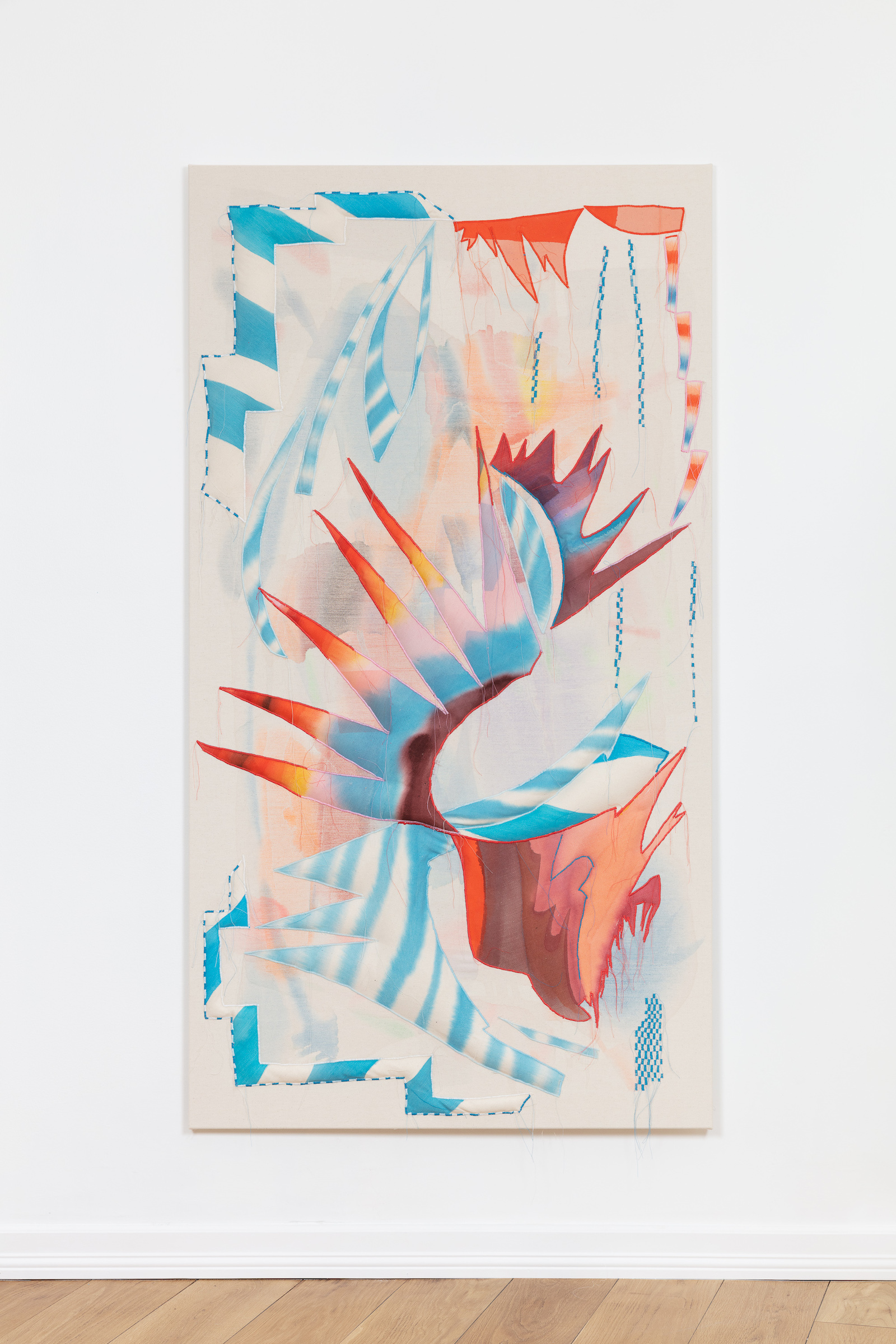 Liv Tandrevold Eriksen, Queens Rooster, 2021, diluted acrylic on sewn cotton canvas, 175 x 95 cm