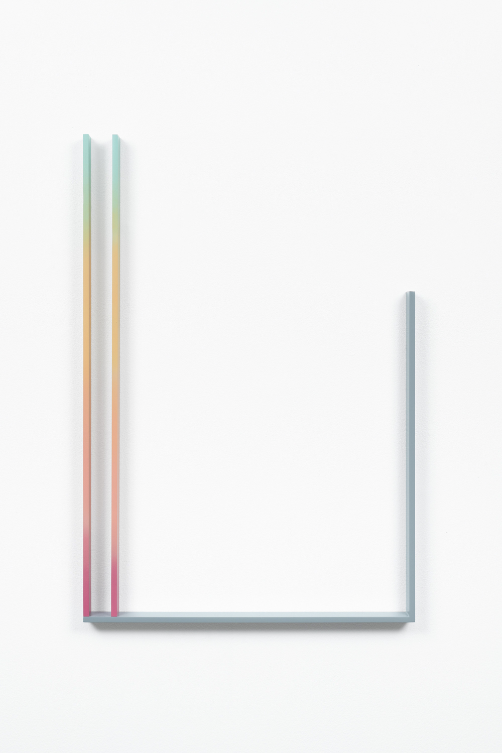 André Tehrani, Stock Gradient (MegaTron), 2019, acrylic lacquer and acrylic polyurethane paint on water cut steel, 46,8 x 68,8 cm x 3,2 cm