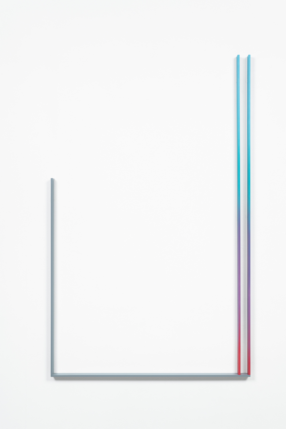 André Tehrani, Stock Gradient (Miaka), 2019, acrylic lacquer and acrylic polyurethane paint on water cut steel, 80,5 x 129,9 x 3,2 cm
