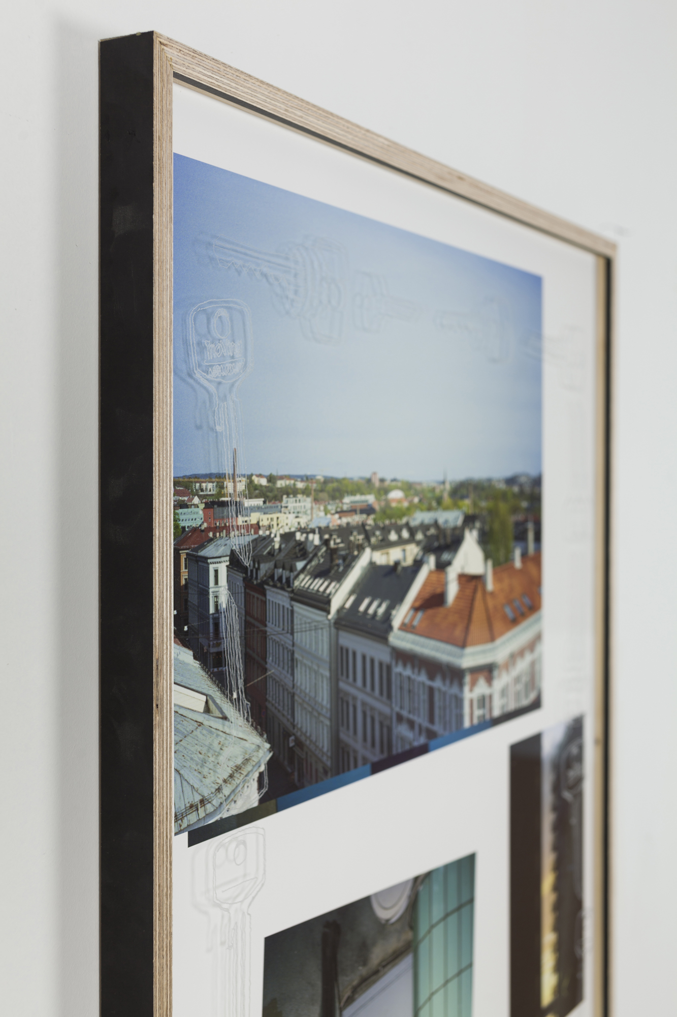 Jon Benjamin Tallerås, Untitled (Lock Picking is Key) VI, 2019, inkjet print, scratched ar-glass, artist made frame, 63 x 90 cm, unique